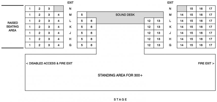 Tavistock Wharf Seating Plan for Standing Events